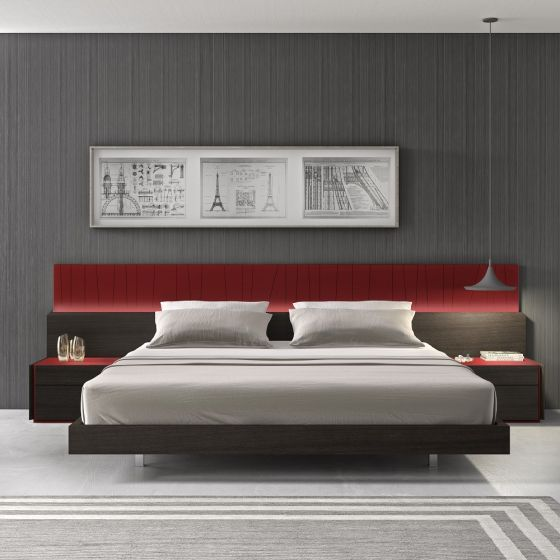 ✅ Lagos Premium LED Platform Bed, Queen Size, Red Gloss/Wenge | VivaSalotti.com | pic