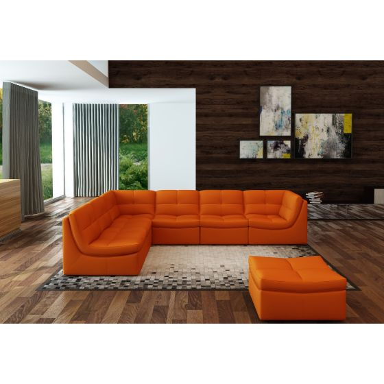 ✅ Lego 7-Piece Leather Modular Living Room Set, Pumpkin | VivaSalotti.com | pic1