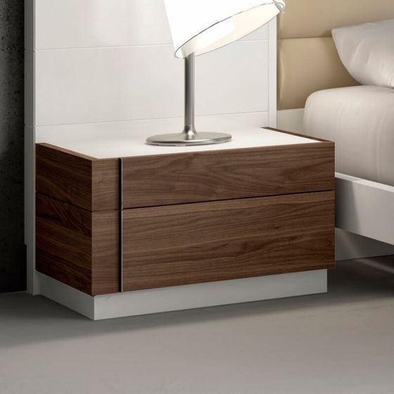 ✅ Lisbon Premium Glass Top Left Nightstand, White/Beige/Walnut | VivaSalotti.com | pic1