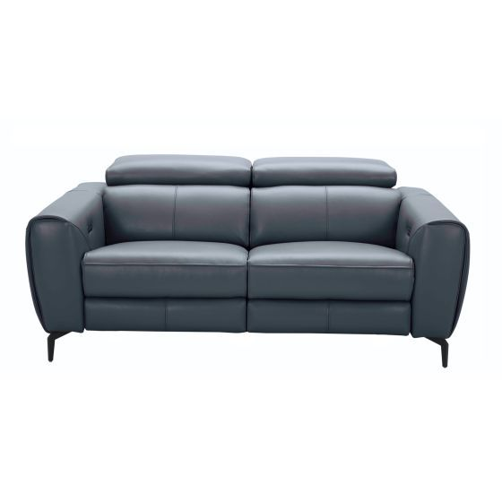 ✅ Lorenzo Premium Italian Leather Motion Loveseat, Blue/Grey | VivaSalotti.com | pic6