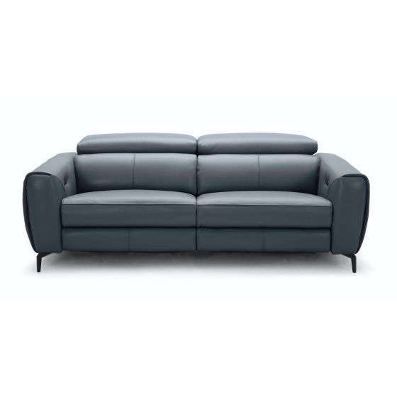 ✅ Lorenzo Reclining Premium Italian Leather Motion Sofa, Blue/Grey | VivaSalotti.com | pic6