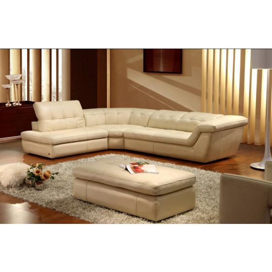 ✅ 397 Italian Leather Left Hand Facing Sectional, Beige | VivaSalotti.com | pic