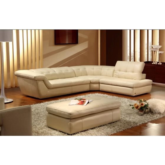 ✅ 397 Italian Leather Sectional Right Hand Facing in Beige | VivaSalotti.com | pic