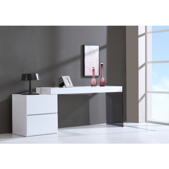 ✅ Mia Modern Glass Office Desk with Storage Drawers, High Gloss White | VivaSalotti.com | pic