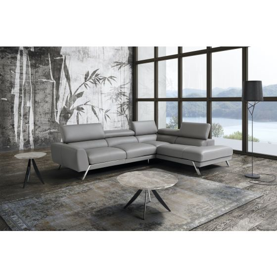✅ Mood Premium Leather Right Hand Facing Sectional, Grey | VivaSalotti.com | pic6