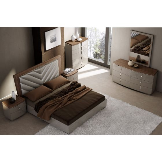 ✅ The Napa Modern Wood Veneer/Leather King Size Bed, Walnut/Grey | VivaSalotti.com | pic1