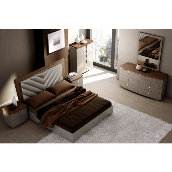 ✅ The Napa Modern Wood Veneer/Leather Platform Queen Size Bed, Walnut/Grey | VivaSalotti.com | pic2