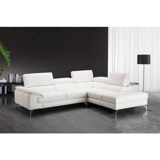 ✅ Nila Premium Leather Right Facing Chaise Sectional, White | VivaSalotti.com | pic