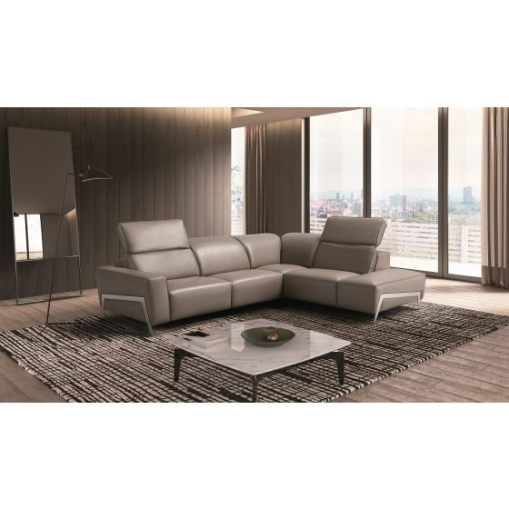 ✅ Ocean Premium Leather Motion Right Hand Facing Sectional, Grey | VivaSalotti.com | pic