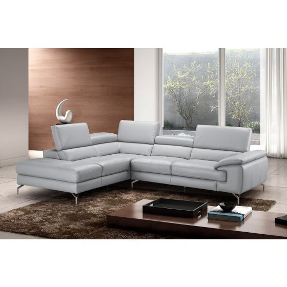 ✅ Olivia Premium Leather Sectional In Left Facing Chaise | VivaSalotti.com | pic1