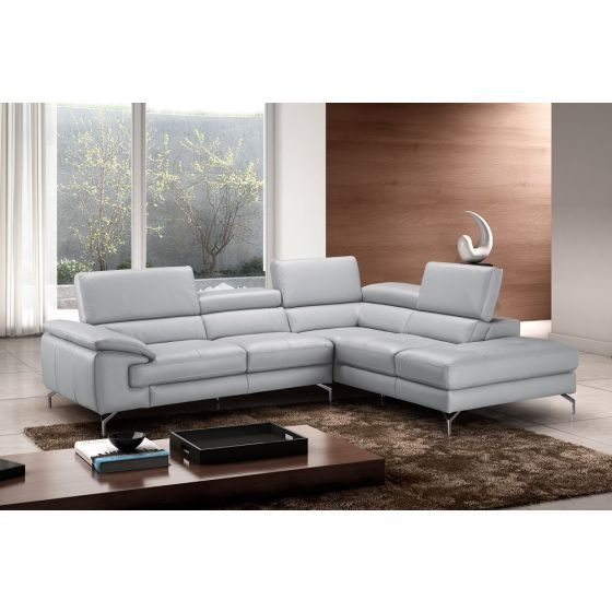 ✅ Olivia Premium Leather Right Hand Facing Sectional, Grey | VivaSalotti.com | pic1