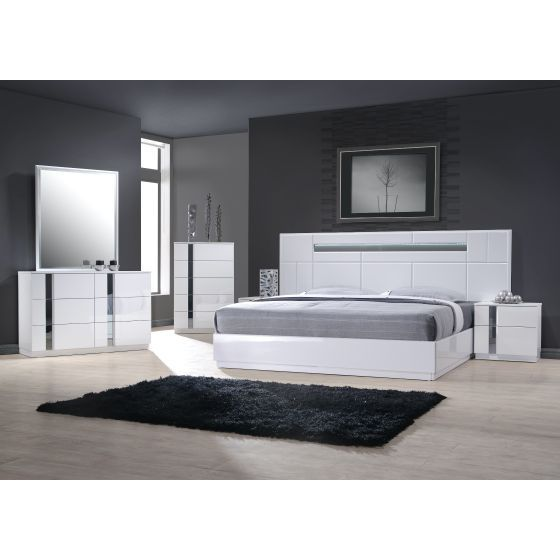 ✅ Palermo Lacquer LED King Size Panel Bed, White Lacquer/Chrome | VivaSalotti.com | pic2