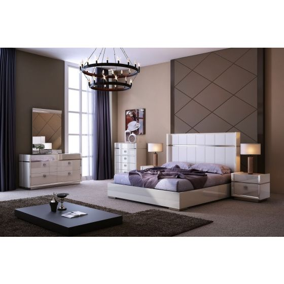 ✅ Paris Modern Genuine Leather Panel Bedroom Set, Light Grey | VivaSalotti.com | pic1