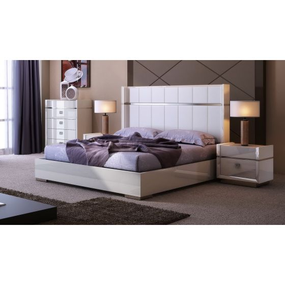 ✅ Paris Modern Genuine Leather Bed, Queen Size, Light Grey | VivaSalotti.com | pic1