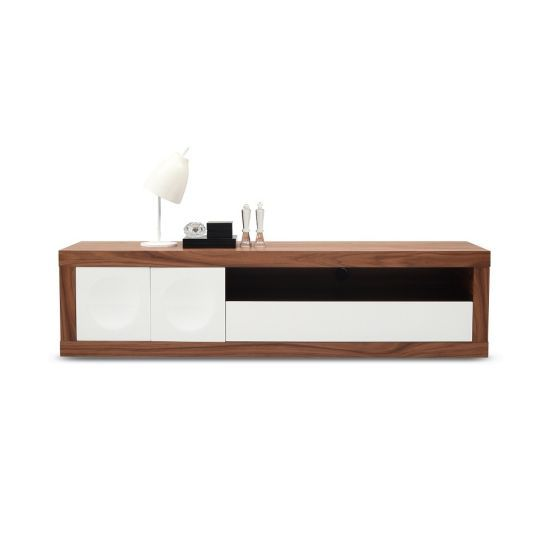 "✅ Prato Modern TV Base for TVs up to 78"", White/Walnut 