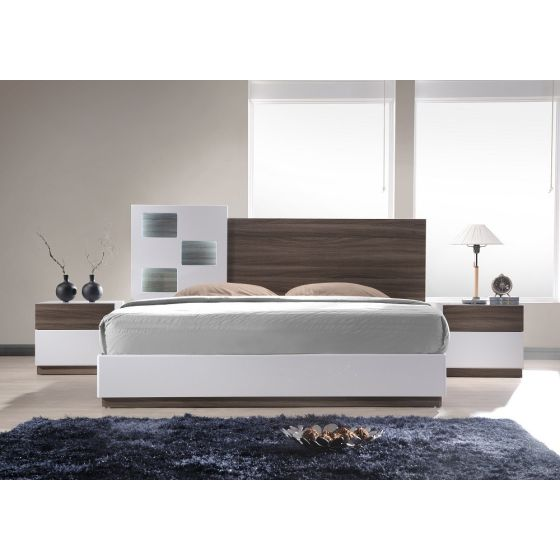 ✅ Sanremo A LED Panel Bedroom Set, Walnut Veneer/White | VivaSalotti.com | pic1