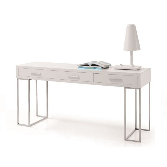 ✅ SG02 Modern Chrome Office Desk with Storage Drawers, High Gloss White | VivaSalotti.com | pic1