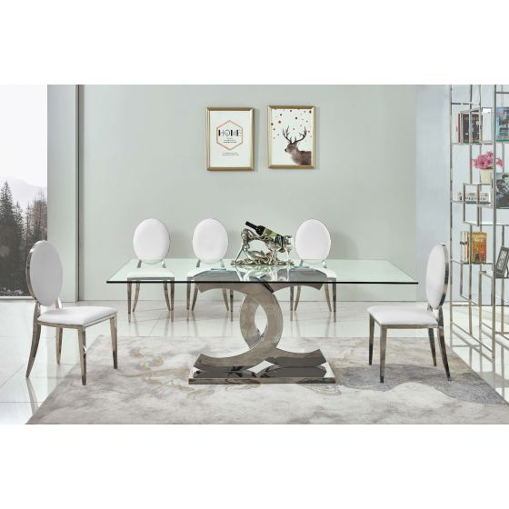 ✅ 151 Modern Clear Glass Dining Table w Chrome Legs | VivaSalotti.com | pic