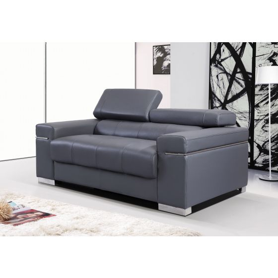 ✅ Soho Leather Loveseat, Grey | VivaSalotti.com | pic3