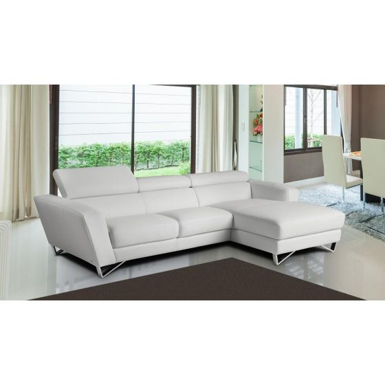 ✅ Sparta Mini Italian Leather Right Hand Facing Sectional, White | VivaSalotti.com | pic2