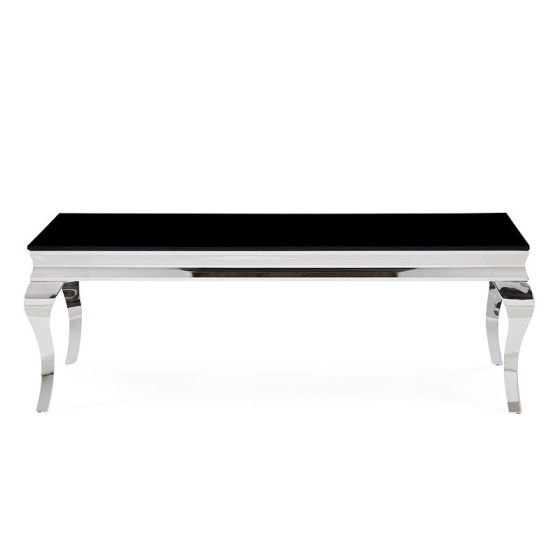 ✅ T858C Coffee Table, Black Glass/Polished Stainless Steel   VivaSalotti.com   pic1