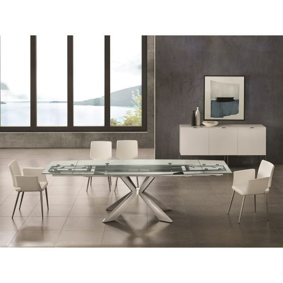 ✅ ICON dining table in clear glass with polished stainless steel base | VivaSalotti.com | pic4