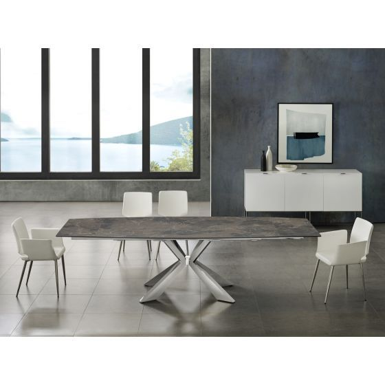 ✅ ICON dining table in brown marbled porcelain top on glass with polished stainless steel base | VivaSalotti.com | pic5
