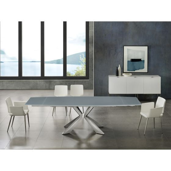 ✅ ICON dining table in gray glass with polished stainless steel base | VivaSalotti.com | pic4