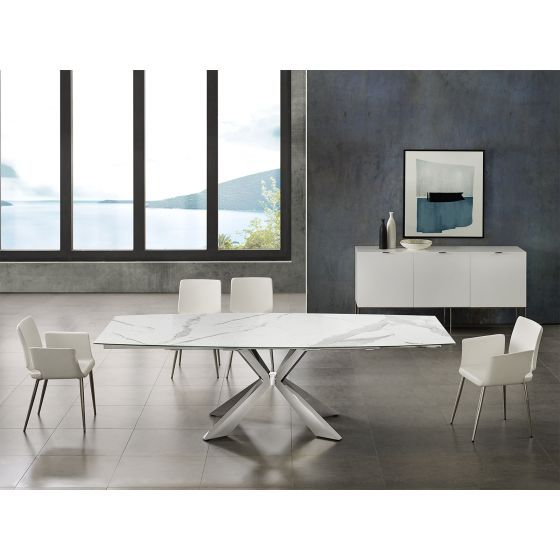 ✅ ICON dining table in white marbled porcelain top on glass with polished stainless steel base   VivaSalotti.com   pic7