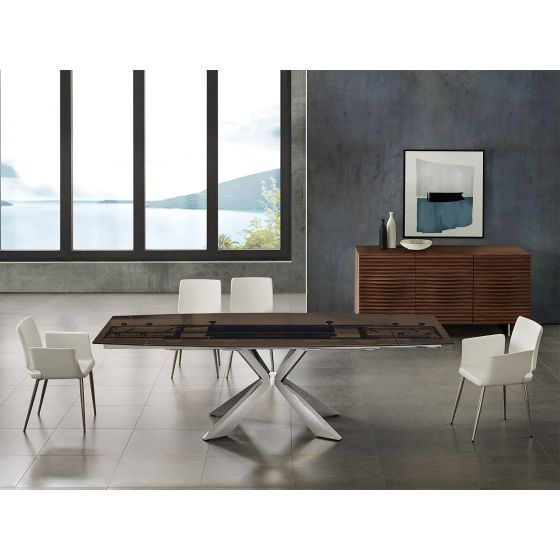 ✅ ICON dining table in smoked glass with polished stainless steel base | VivaSalotti.com | pic4