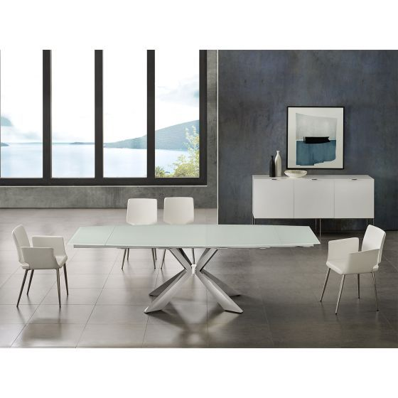 ✅ ICON dining table in white glass with polished stainless steel base | VivaSalotti.com | pic4
