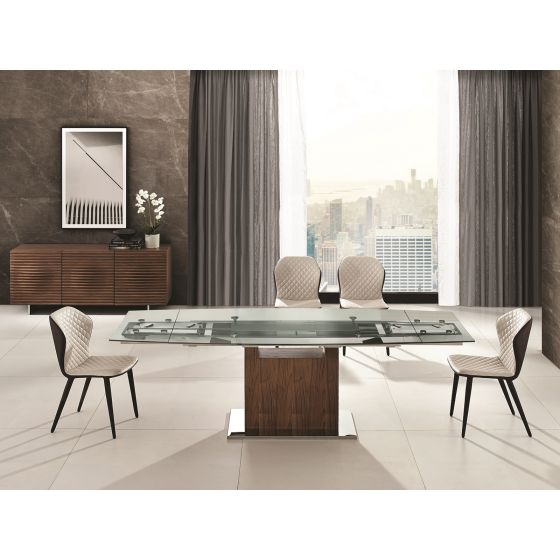 ✅ OLIVIA dining table in clear glass with walnut veneer base | VivaSalotti.com | pic4