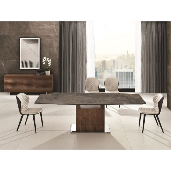 ✅ OLIVIA dining table in brown marbled porcelain top with walnut veneer base   VivaSalotti.com   pic
