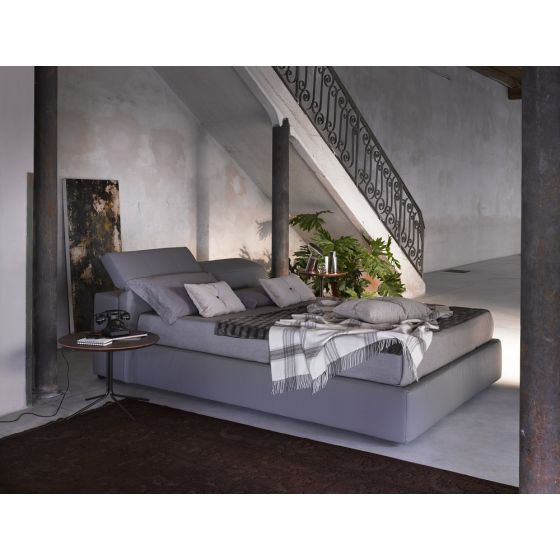 ✅ Tower D709 Ecoleather Storage Queen Size Platform Bed, Grey | VivaSalotti.com | pic