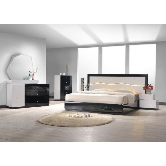 ✅ Turin Modern Lacquer LED Queen Size Panel Bed, Light Grey/Black Lacquer | VivaSalotti.com | pic