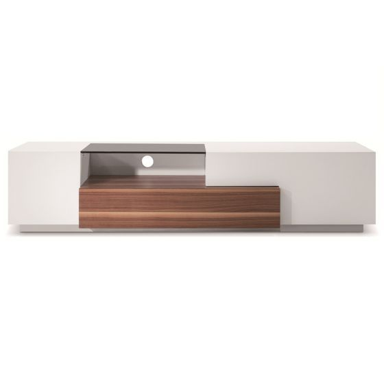 "✅ TV015 Modern TV Stand for TVs up to 70"", White High Gloss/Walnut 