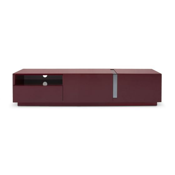 """✅ TV027 Contemporary TV Stand for TVs up to 70"""", Red High Gloss 