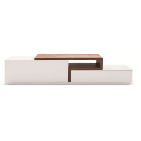 "✅ TV045 Modern TV Stand for TVs up to 74"", White High Gloss/Walnut 
