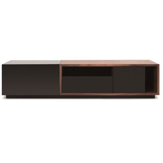 "✅ TV047 Modern TV Stand for TVs up to 74"", Black High Gloss/Walnut 