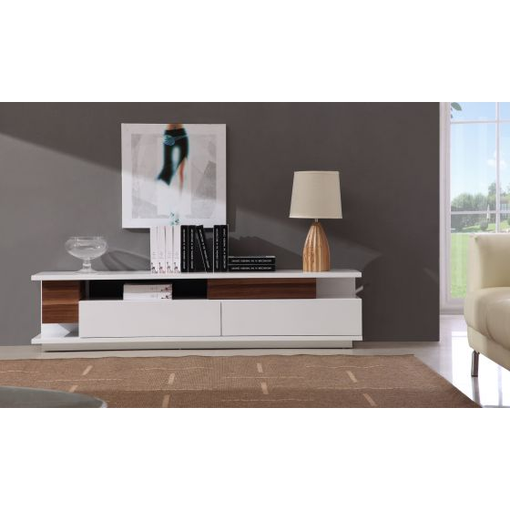 ✅ TV Stand 061 in White High Gloss & Walnut | VivaSalotti.com | pic2