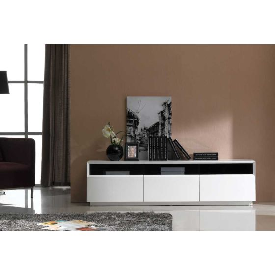 "✅ TV023 Contemporary TV Stand for TVs up to 70"", White High Gloss 