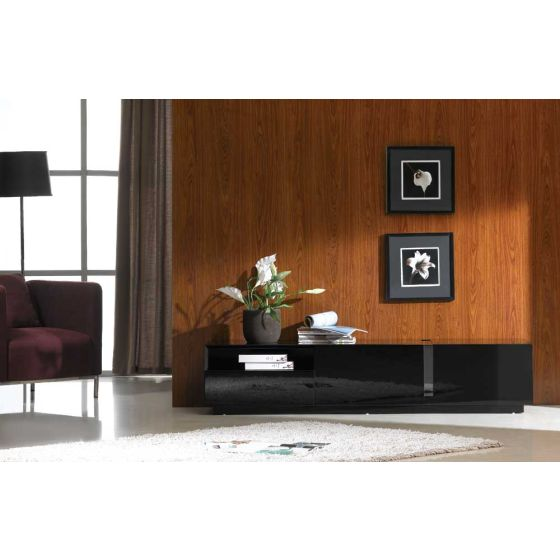 "✅ TV027 Contemporary TV Stand for TVs up to 70"", Black High Gloss 