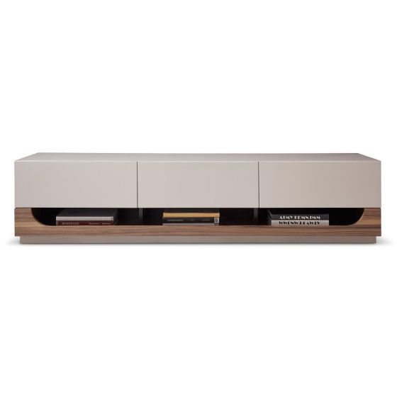 "✅ TV103 Modern TV Stand for TVs up to 70"", Walnut Veneery/Taupe High Gloss 