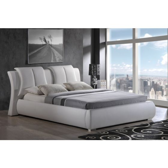 ✅ 8269 White PU Queen Bed by Global USA | VivaSalotti.com | pic2