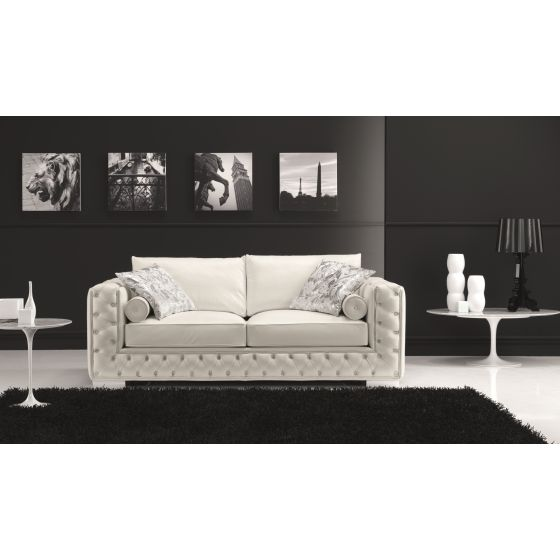 ✅ Vanity Leather Sofa, White | VivaSalotti.com | pic
