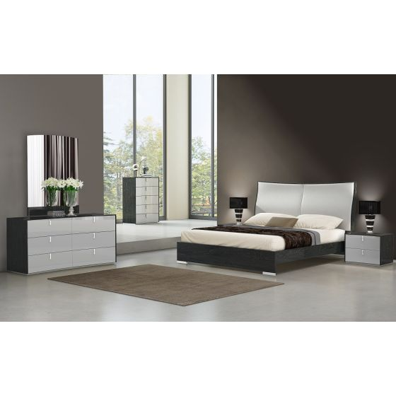 ✅ Vera Modern Ecoleather Queen Size Panel Bed, Grey | VivaSalotti.com | pic