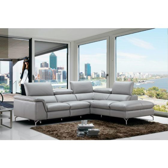 ✅ Viola Premium Leather Right Hand Facing Sectional, Light Grey | VivaSalotti.com | pic3