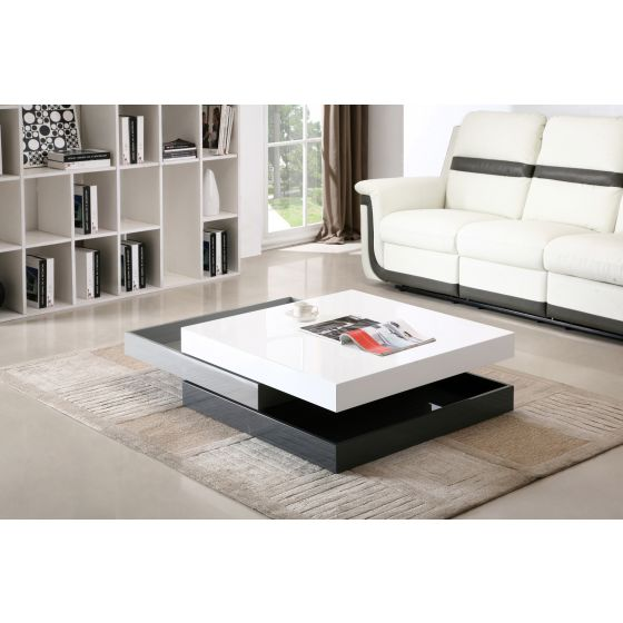 ✅ Modern Swivel Coffee Table CW01, White High Gloss/Grey High Gloss | VivaSalotti.com | pic2