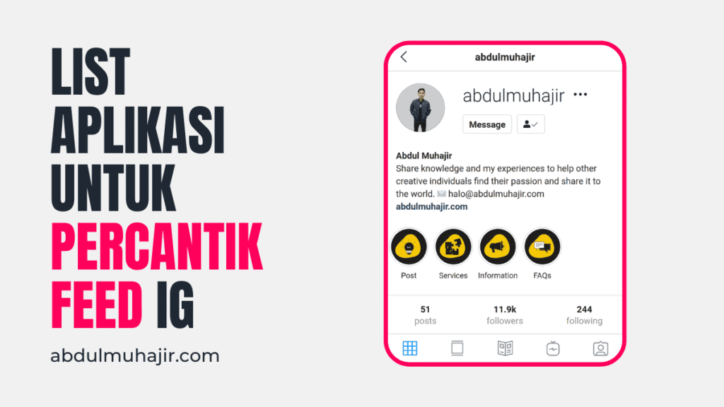 Aplikasi mempercantik feed Instagram