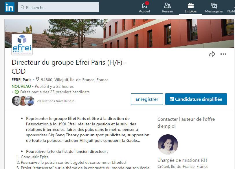 Efrei Paris cherche un nouveau directeur